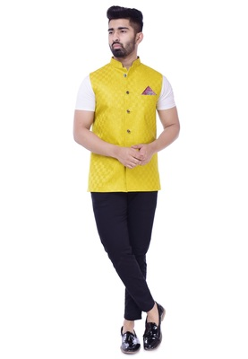 Yellow Solid Checks Jute Sleeveless Modi Jacket