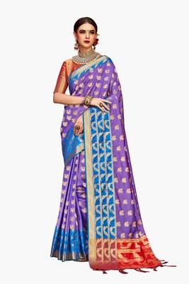 Violet woven faux kanjivaram silk saree with blouse
