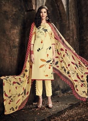 Cream Digital Print Cambric Salwar