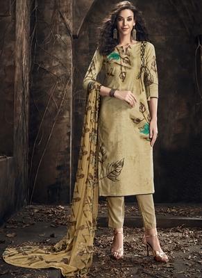 Beige Digital Print Cambric Salwar