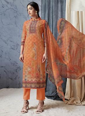 Orange digital print cambric salwar
