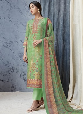 Parrot-green digital print cambric salwar