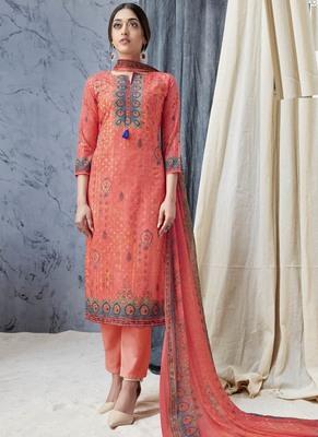 Peach Digital Print Cambric Salwar
