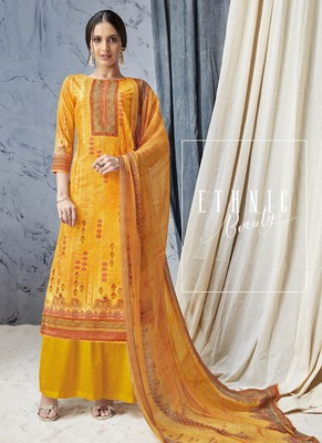 Yellow Digital Print Cambric Salwar