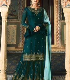 Dark-turquoise embroidered faux georgette salwar