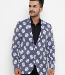 blue Printed Single Breasted Casual Men Blazer