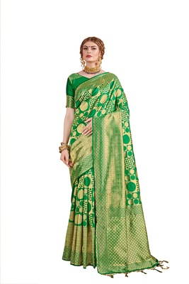 Green woven faux banarasi silk saree with blouse