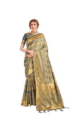Grey woven faux banarasi silk saree with blouse