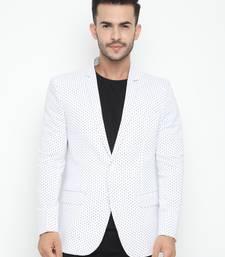 white Printed Single Breasted Casual Men Blazer