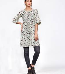 Light-green printed polyester short-kurtis