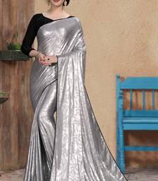 Silver plain silk saree with blouse