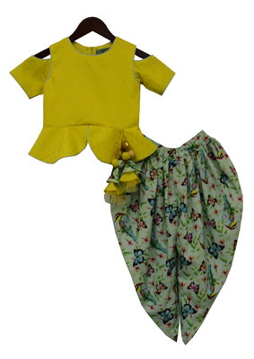 Lime Green Top With Pista Green Printed Dhoti