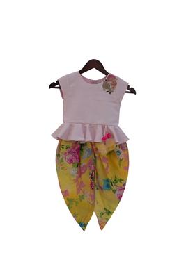Baby Pink Peplum Top with Yellow Printed Dhoti