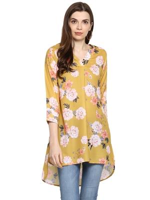 Yellow printed polyester sleeveless-tops