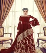 Buy Maroon embroidered georgette salwar