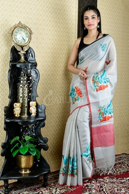 SILVER TISSUE SAREE WITH ORANGE AND GREEN BIRD MOTIF EMBROIDERY