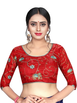 Red Satin Banglory Silk Bridal Collection Unstiched Blouse Fabric Piece.