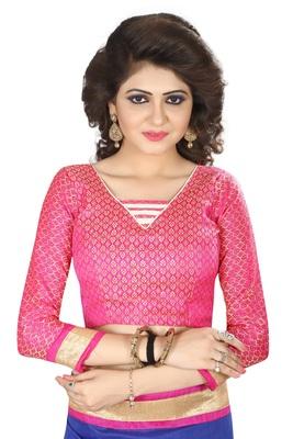 Pink Jacquard cotton Silk Unstiched Blouse Fabrics Piece.