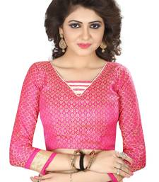 Pink Jacquard cotton Silk Unstiched Blouse Fabrics Piece.