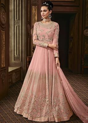 Light-pink embroidered faux georgette salwar