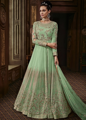 Light Green embroidered faux georgette salwar