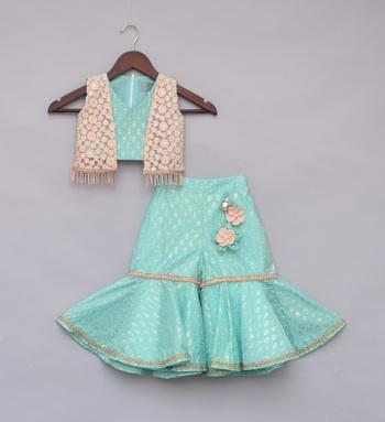 Aqua Printed Top with Jacket & Sharara