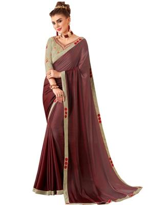 Maroon plain art silk sarees saree with blouse