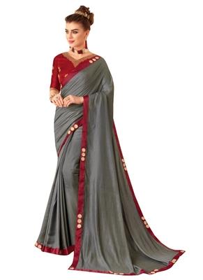 Grey Plain Art Silk Sarees Saree With Blouse
