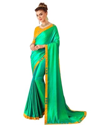 Green plain art silk sarees saree with blouse