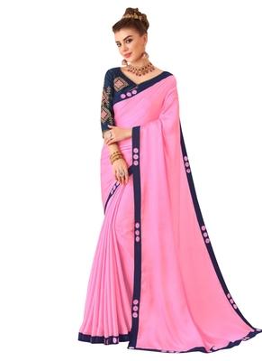Pink Plain Art Silk Sarees Saree With Blouse