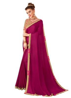 Purple Plain Art Silk Sarees Saree With Blouse