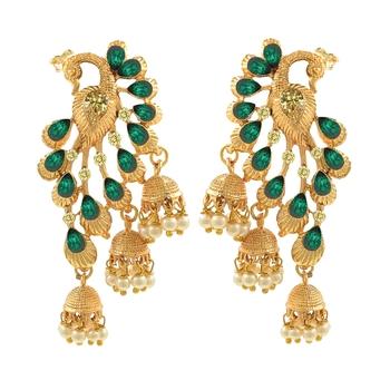 Saizen Gold Plated Fancy Party Wear Stylish Pearl Alloy Jhumki Earring Alloy Drops & Danglers
