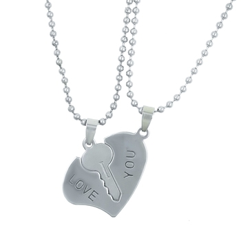 Saizen Couples Heart And Key Locket With 2 Chain Stainless Steel Pendant For Unisex
