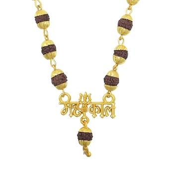 Religious Jewelry Loard Shiva Mahakal Locket Gold-Plated Beads Brass, Wood Pendant