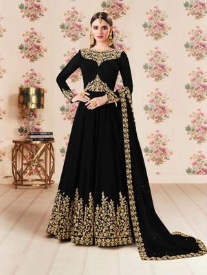 Black Faux Georgette Designer Anarkali Suit
