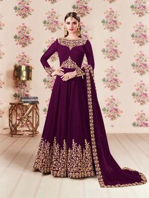 Purple Faux Georgette Designer Anarkali Suit
