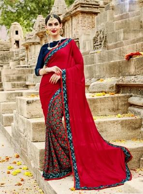 Multicolour Printed chiffon saree with blouse