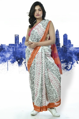 WHITE PURE COTTON SAREE WITH SCRIPTED HAND BLOCK PRINT AND BORDER