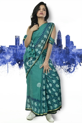 PINE GREEN PURE COTTON SAREE WITH FLORAL BLOCK PRINT AND BORDER