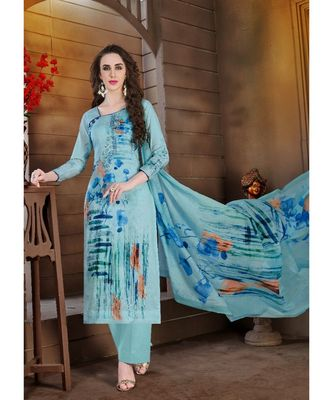 blue embroidered lawn semi stitched salwar with dupatta