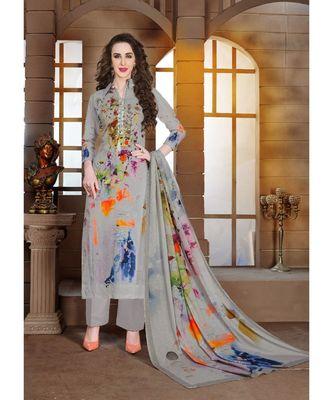 grey embroidered lawn semi stitched salwar with dupatta