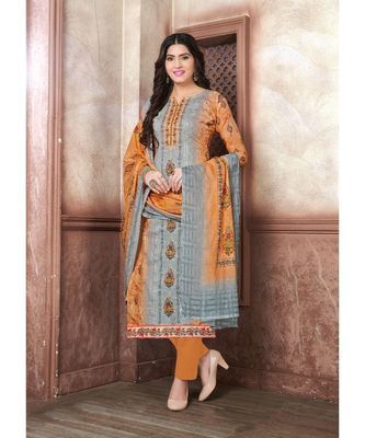 multicolor embroidered lawn semi stitched salwar with dupatta