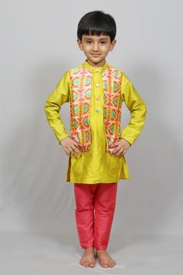 kurta pajama with printed jacket
