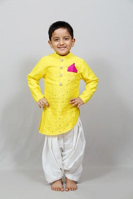 full sleeves yellow kurta with dhoti for boys