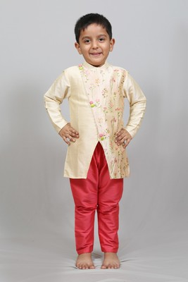 cross pattern kurta with churidaar pant