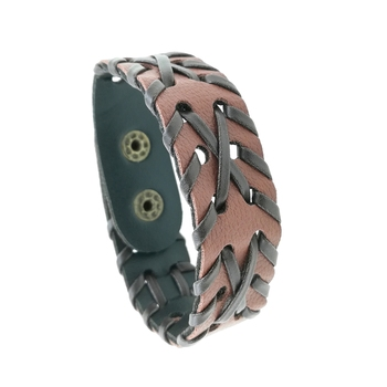 Saizen Hand-Woven Black & Brown Leather Bracelet for Men