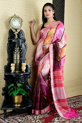 MULTICOLORED PRINTED COTTON BLENDED LINEN WITH ZARI BORDER
