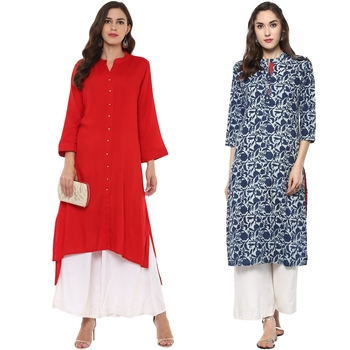 combo of cotton and rayon red and blue kurti