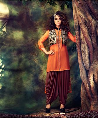 orange embroidered Georgette semi stitched salwar with dupatta