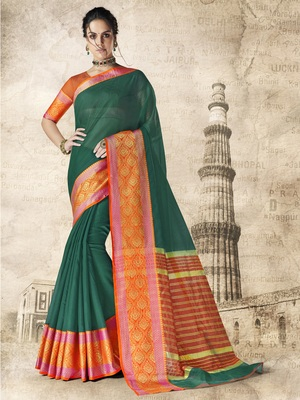 Green woven cotton silk saree with blouse